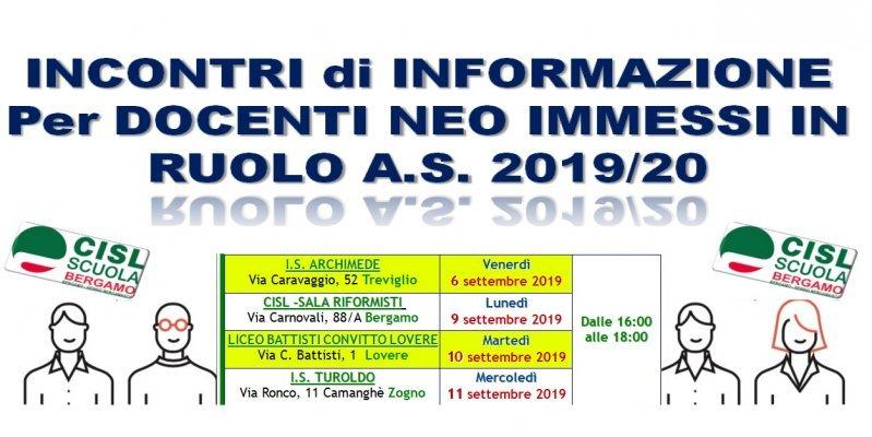 INCONTRI DI INFORMAZIONE PER DOCENTI NEO IMMESSI IN RUOLO A.S. 2019/20