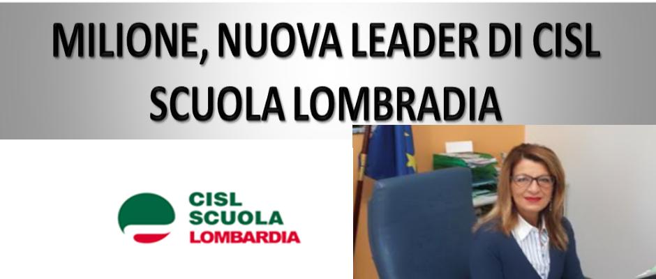MILIONE,NUOVA LEADER CISL SCUOLA LOMBARDIA