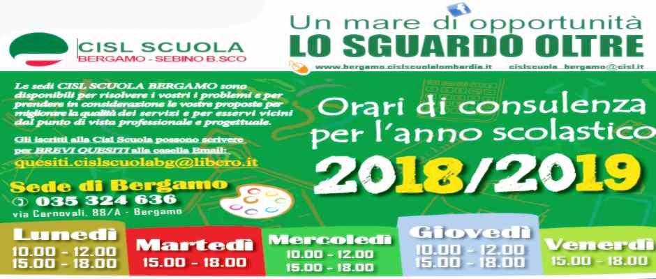 ORARI DI CONSULENZA PER L'ANNO SCOLASTICO 2018 - 2019