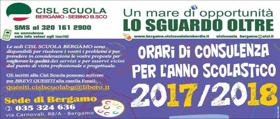 CISL SCUOLA BERGAMO: ORARI DI CONSULENZA PER L'ANNO SCOLASTICO 2017/2018