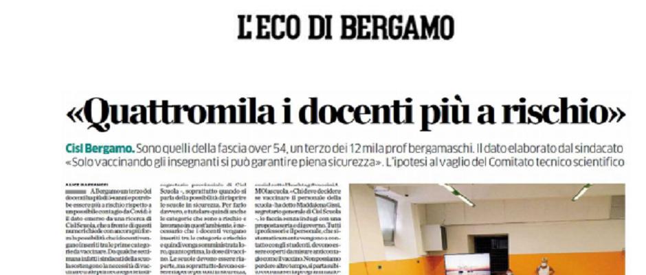 ECO DI BERGAMO  <<QUATTROMILA I DOCENTI PIU' A RISCHIO>>