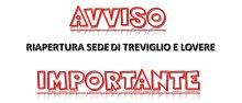 Avviso riapertura sede di Treviglio e Lovere