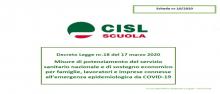 """Decreto """"Cura Italia"""", schede di lettura della CISL Scuola"""